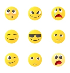 Emoticons for messages icons set cartoon style vector