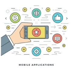 Flat line mobile applications concept vector