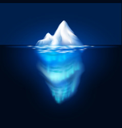 Iceberg on dark background block of ice in vector
