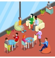 Isometric Interior Office Canteen with People vector image vector image