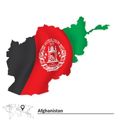 Map of afghanistan with flag vector
