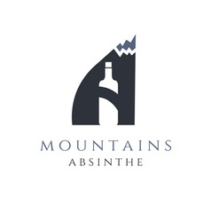 mountain absinthe concept with bottle in letter a vector image vector image