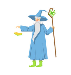 Old bearded wizard in a blue pointed hat holding vector