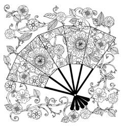 Oriental fan zentagle vector