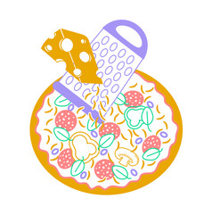 pizza icon with cheese inear vector image