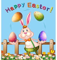 Poster design with easter bunny juggling eggs vector