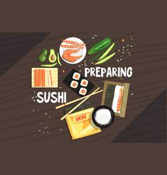 Preparing sushi ingredients and technique vector