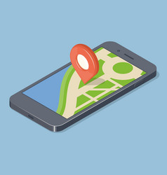 Red pointer on smartphone map gps navigation vector