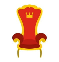Red royal throne icon flat style vector image vector image