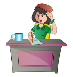 secretary or woman sitting at a desk vector image