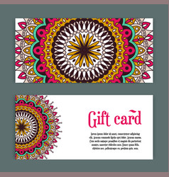 Set templates of gift cards with color ornament vector