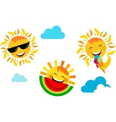 summer vacation set of happy sun icons vector image vector image
