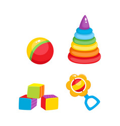 toys pyramid cubics ball and rattle toy vector image