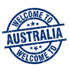 Welcome to australia blue stamp vector