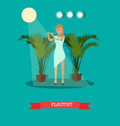 woman playing flute in flat vector image