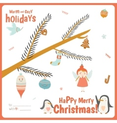 Cute Christmas card with tree branch vector image