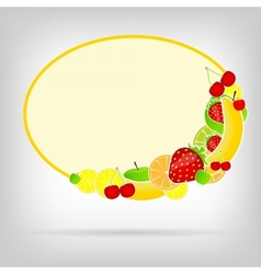 Frame with fresh fruits vector