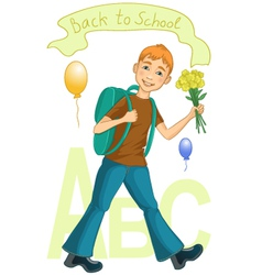 Boy on his way to school vector