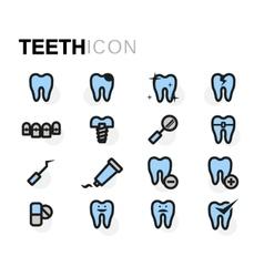 Flat teeth icons set vector