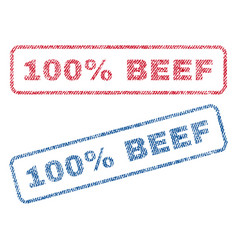 100 percent beef textile stamps vector
