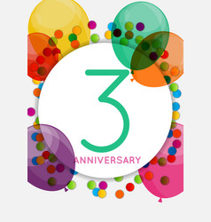 Template 3 years anniversary congratulations vector
