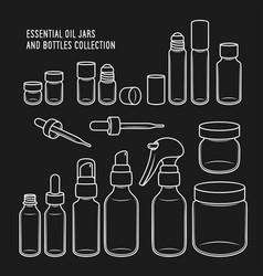 Essential oil jars and bottles design set vector