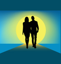 Silhouette of a couple walking next to each other vector