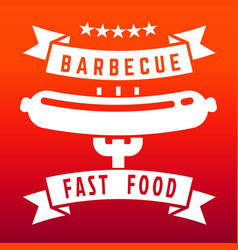 Fast food or barbecue label on flame color vector