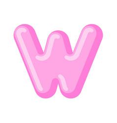 letter w candy font caramel alphabet lollipop vector image