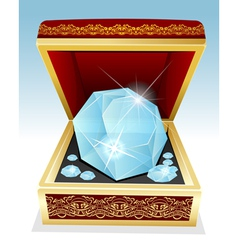 Big brilliant diamond in gift box vector