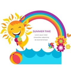 summer card with happy sun colorful rainbow and vector image