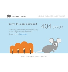 Gray mouse under cats paw page not found error 404 vector