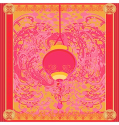 Chinese new year with lantern card vector