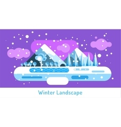 Abstract outdoor winter landscape trees and vector
