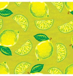 Seamless pattern of yellow lemons vector