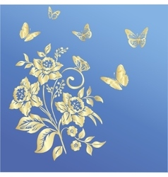 Elegance pattern with flowers narcissus on blue vector