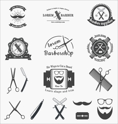 Big set of vintage barbershop logos and badges in vector