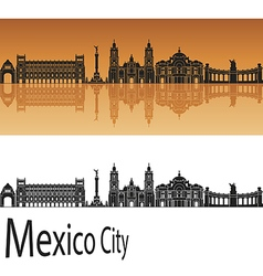 Mexico city v2 skyline in orange vector