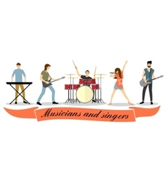 Musicians and singers set rock band vector