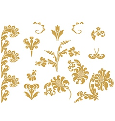 Stylized floral design elements with gold flowers vector
