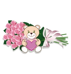 Bouquet of roses and teddy bear vector