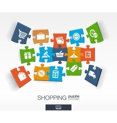 Abstract shopping background with connected color vector image