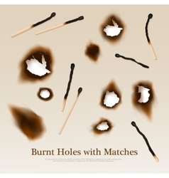 Paper with burnt holes and matches vector