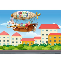 A happy easter greetings with a bunny in the vector image vector image