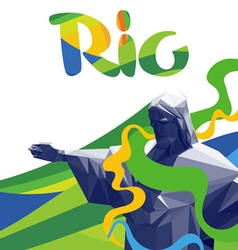 Abstract rio de janeiro with national colors lines vector
