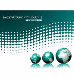 background with three globe vector image vector image