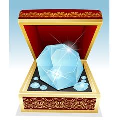 Big brilliant diamond in gift box vector
