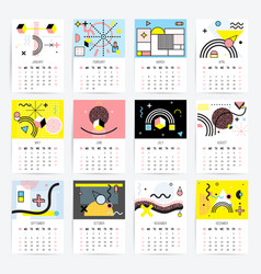 Calendar in memphis style vector