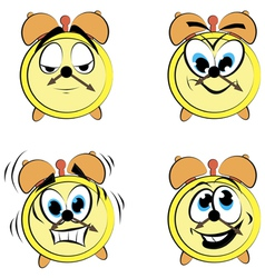 Cartoon alarm clock ikons vector image