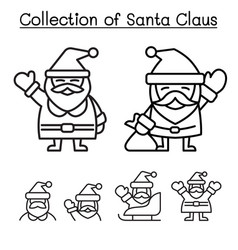 collection of christmas santa claus in thin line vector image vector image
